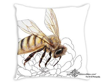 Bumble Bee Art, Bee Nice Throw Pillow, Honey Bee Cushion, Queen Bee Pillow, Worker Bee, Travel Pillow, Custom Bedding, Save the Bees Pillow