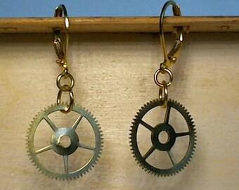 Steampunk Gear Earring Small