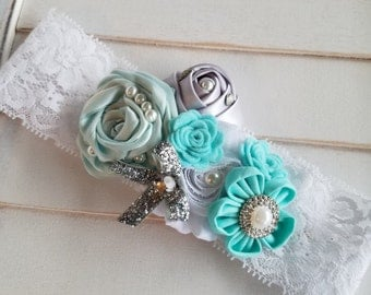 Robin Egg's Blue and White lace headband, Aqua Cyan blues Headband, Aqua and Silver Headband, Aqua Blue and Silver Headband