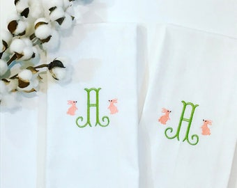 Easter hostess gift etsy easter bunny monogrammed dish towel kitchen items holiday kitchen monogrammed gift bunny negle Images