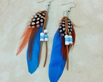 Blue Feather Dangle Drop Faux Suede Beaded Earrings 4 Inches