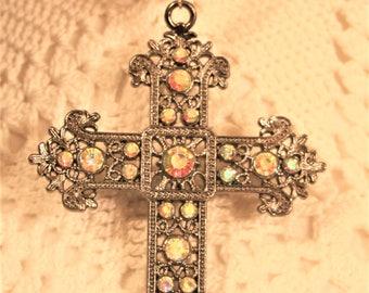 Lacy Fleur de Lis Armed Dark Silvertone Aurora Borealis Rhinestones Pectoral Cross Pendant Necklace Religious Christian