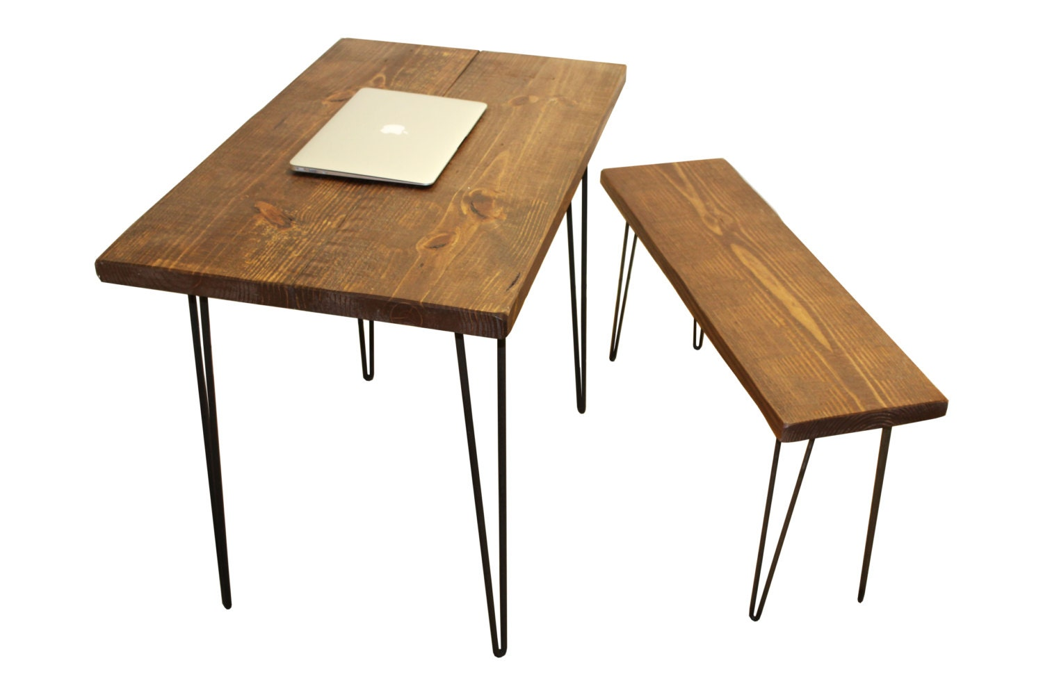 Desk and bench table wood desk puter desk reclaimed