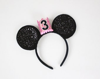 Minnie Mouse Birthday Outfit | Minnie Mouse Ears Birthday Crown | Minnie Ears | Minnie Mouse 3rd Birthday Outfit | Hot Pink