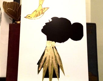 Silhouette girl with bird art print, hand finished with gold leaf