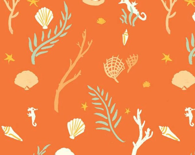 Birch Fabrics - Saltwater - Flotsam & Jetsam Coral - Organic Cotton Knit - FINAL CLEARANCE