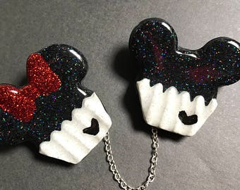 Mickey and Minnie Cupcake Sweater Clips