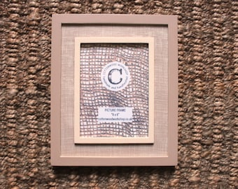 "Wooden Photo Frame, 8"" x 6"" Wooden Picture Frame, Cream/Brown, Rect, Photo,12""x10"" Frame, Hand Painted, Remade.Wall-mounted or Free Standing"