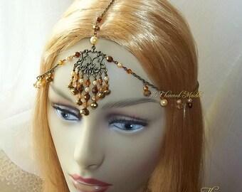 Bohemian Headpiece, Bronze & Gold Pearl Headpiece, Head Chain, Bohemian Headdress, Beaded Headpiece, Boho Head Chain, Wedding,Festival,Bride