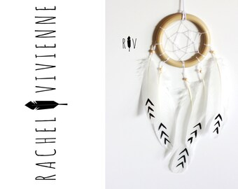Simple Wood Ring Black Aztec Arrow Dreamcatcher Car Accessory (3 1/4th Inches)