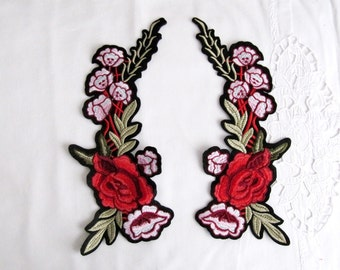 Iron On Dal Flower Patch, 2 PCS. MIRROR Floral Patches , Red and Pink Flower Applique ,İron on Applique Patches