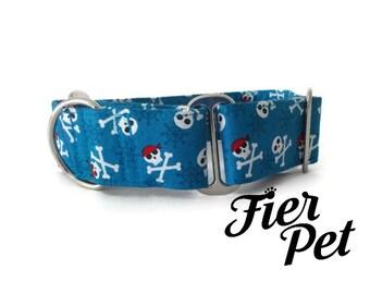 martingale collar, dog martinguale collar,blue pirate,skull ,whippet collar, greyhound collar