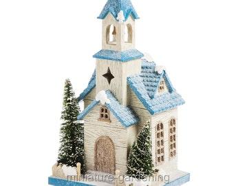 Holiday Fairy Church with Lights for Miniature Garden, Fairy Garden