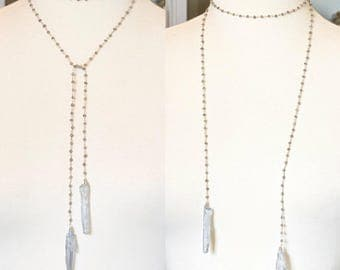 Silver Lariat Necklace with Quartz Points, Bohemian Choker Necklace, Gray Labradorite Long Beaded Boho Wrap Necklace, Gemstone Lariat