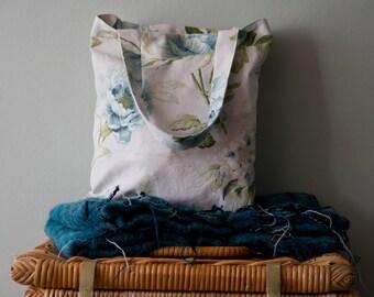 Blue Peony Cotton Tote Bag