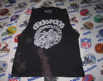 totally trashed UNDERDOG TANK TOP - sz xl - tie dye bleached nyhc grunge distressed vintage shirt punk
