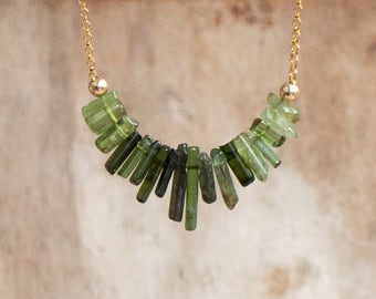 Chrome Tourmaline Necklace in Gold or Silver, October Birthstone, Raw Green Tourmaline Necklace, Tourmaline Jewellery