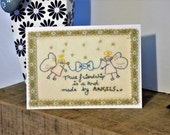 Angels (with bow) true friendship original embroidery print greetings card. For a mum, sister, best friend, auntie / anniversary, birthday..