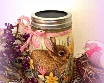 Decorated mason jar,Easter bunny,decoupaged jar, bunny decor, painted glass jar,woodland rabbit, Spring decor, kitchen storage, gift for her