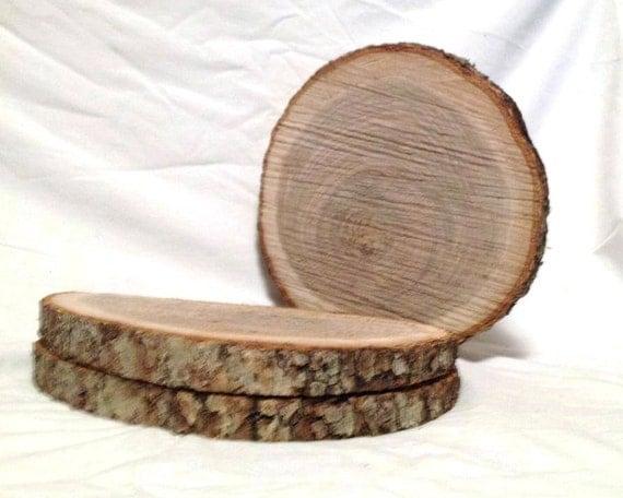 Natural oak wood log slices to crafts rustic
