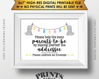 "Address an Envelope Sign, Elephant Baby Shower Help the Busy Parents-to-Be, Neutral Baby Shower Decor, Instant Download 5x7"" Printable Sign"