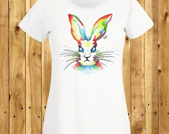 Rainbow Rabbit T-Shirt, Easter Bunny Shirt, Watercolour Rabbit Tee, Hand Drawn Top, Rabbit Lover Gift, Bunny Birthday Present Fiona Fletcher