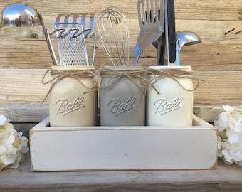 Mason Jar Utensils Holder Mason Jar Kitchen Decor Gray Kitchen Decor Kitchen Utensils