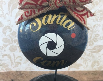 Santa cam, santa is watcing, keep them kids in check, christmas ornament, glitter ornament