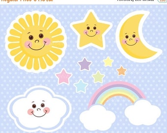 80% OFF Sun Baby Vector Illustrations, Clouds, Rainbow, Stars, Moon, Set, Clip Arts