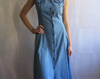 Vintage Denim Midi Round Dress