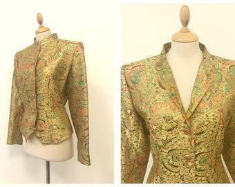 YVES SAINT LAURENT vintage 1990s golden arabesque brocade silk jacket - size M/L