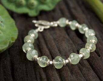 Faceted Prehnite Bracelet with Thai Hill Tribe Silver Beads + Clasp