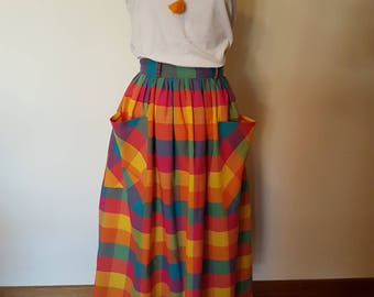 80s Check Dirndl Skirt with pockets size S