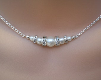 Kate ~ Graduated Pearl & Diamante bar necklace, pearl beaded necklace, bridesmaid necklace, pearl chain necklace, necklace for layering
