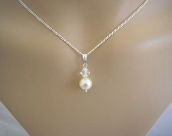 Dainty Pendant Necklace made with Swarovski 8mm Pearl and 6mm Crystal on a fine silver plated chain, Ladies & Girls sizes