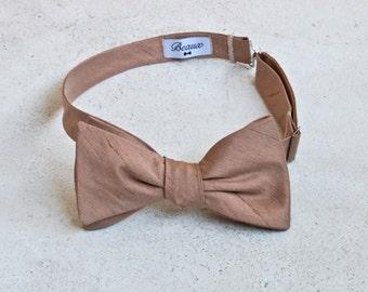 Rose Gold Bronze Raw Silk Bow Tie