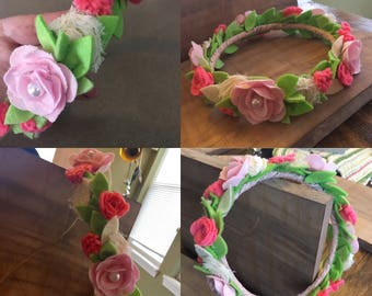 The Lynna- Sweet Felt Flower Head Wreath