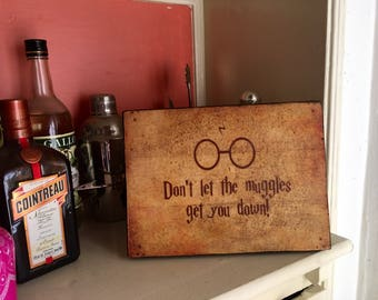 SAMPLE SALE: Don't Let The Muggles Get You Down- Rustic Distressed Sign