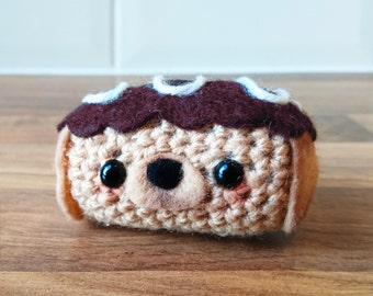 Cute Crochet Eclair Puppy! Chocolate Eclair, Crochet Eclair, Amigurumi Cake, Chocolate, Cute Crochet Food, Kawaii Crochet Food, Kawaii Food