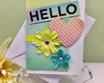 Hello Card, Thinking of You Card, Just Saying Hello, BFF Card, All Occasion Card, Blank Greeting Card, Flower Card, All Occasion Stationary