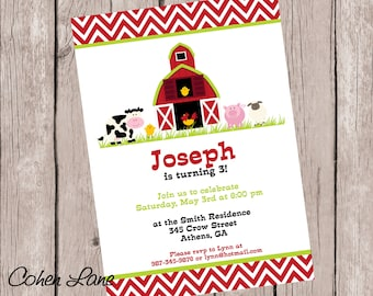 Printed 5x7 Farm Party Invitations and Envelopes.  Barnyard Birthday Party Invitation.  Printed Invites and Envelopes. Farm Invite.