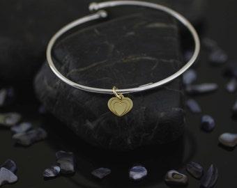 Sterling Silver Dangle Heart  Bracelet, Silver Two Color Heart Bracelet, Silver Heart Bracelet, Modern Bracelet, Love Bracelet, Valentine