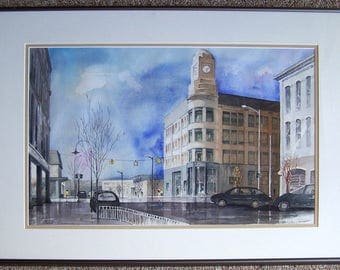 Watercolor of Traverse City, MI Michigan by Paul Brown - Corner of West Front and Union Street - 5/3 (Old Kent) Bank Building