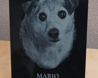 Pet Memorial Plaque ~ Laser Engraved Black Marble Plaque ~ Forever Photo ~ Pet Memorial
