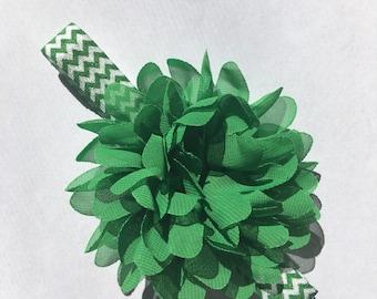 Baby Headband - Green - Chiffon Flower