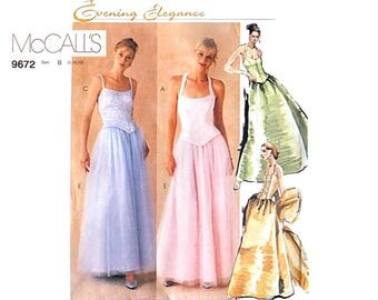Evening Dress Pattern - Floor Length Skirt and Separate Boned Bodice with Stole or Wrap - Suits Busts 31.5, 32.5  or 34 inch - McCalls 9672
