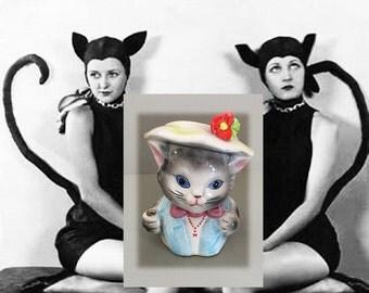 Cute Ceramic Cat Kitty Vintage Head Vase, Circa 1960s, As Found