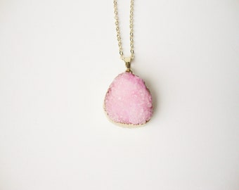 Edge pink druzy quartz pendant necklace 14 k gold plated gold