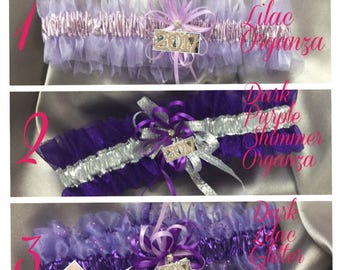 Purples- Handmade Wedding and Prom Garters