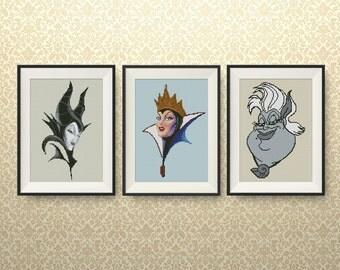 SET, Disney Villains cross stitch pattern, Disney Princess Villains cross stitch, Maleficent, Evil Queen, Ursula, Instant Download, #P263